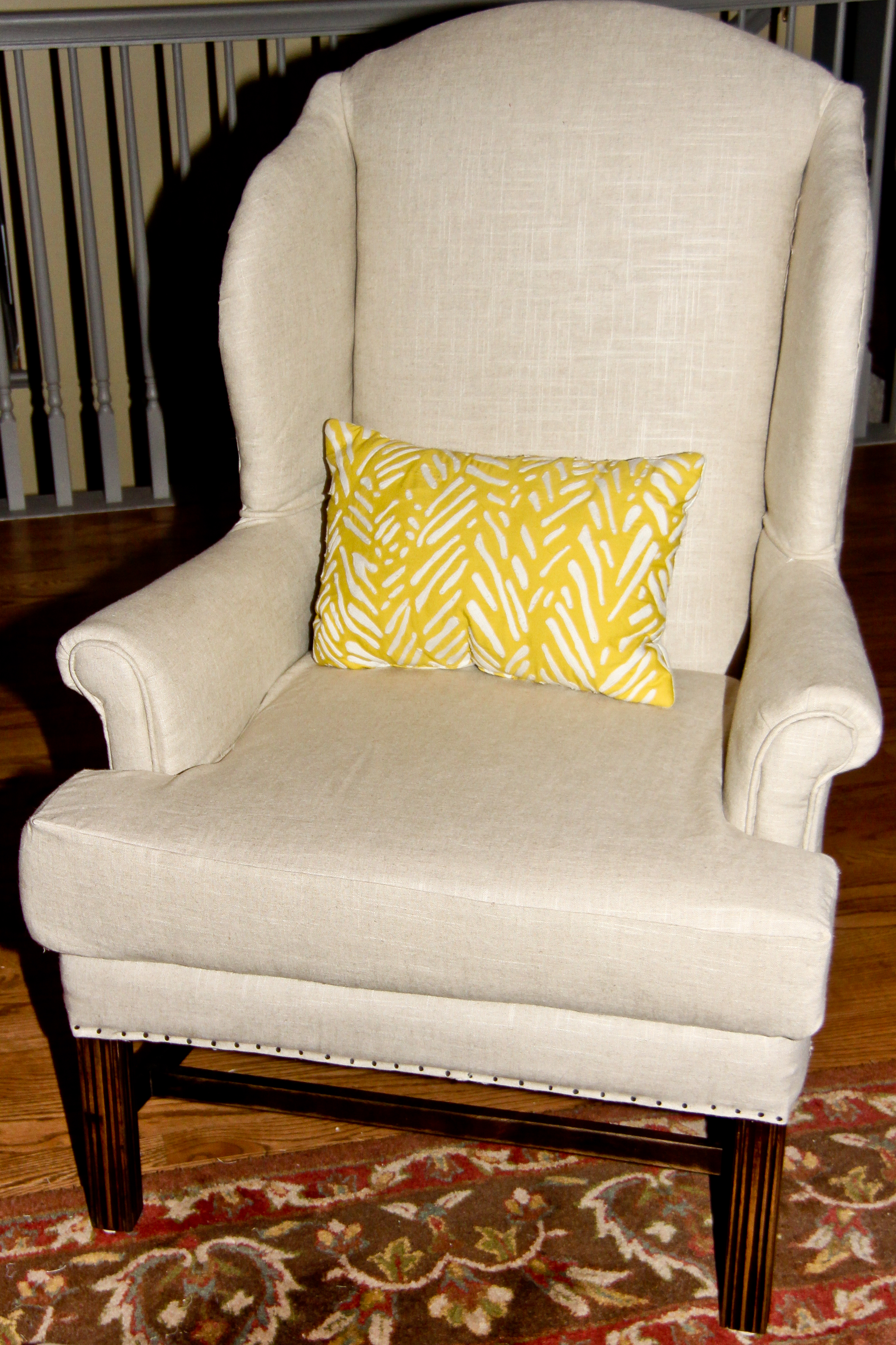 Re Upholstering A Wingback Chair Part 2 Hansens At Home
